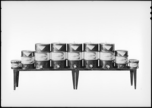 Full line of oils and greases taken at plant, Southern California, 1932