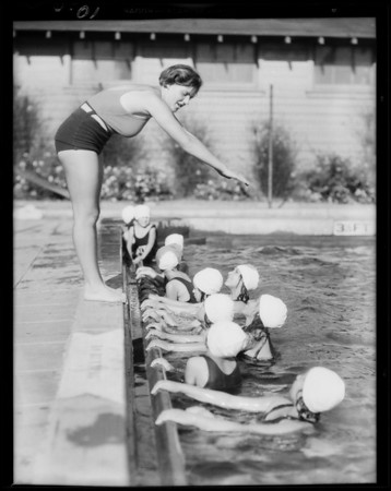 Opening of 1931 summer season, pool at North Broadway, Southern California, 1931