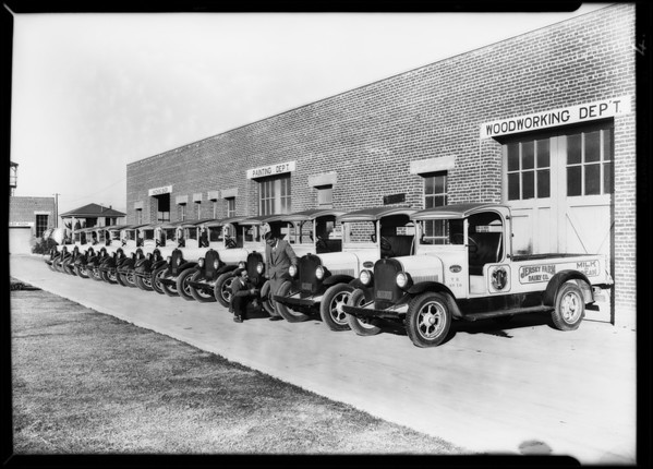 Fleet at creamery (Jersey Farm), 6001 South Van Ness Avenue, Los Angeles, CA, 1928