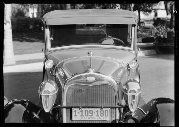 Bumpers & lights on new Ford, Southern California, 1928