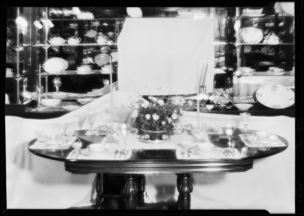 Tableware shots for topics, Miss Cochran, Southern California, 1926