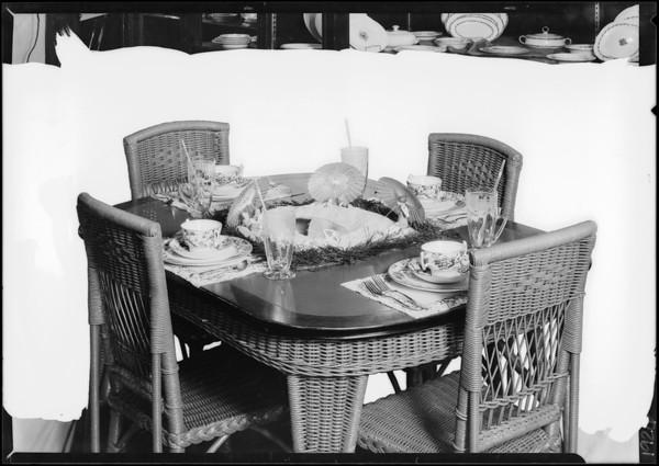 Tableware shots for topics, Miss Cochran, Southern California, 1926