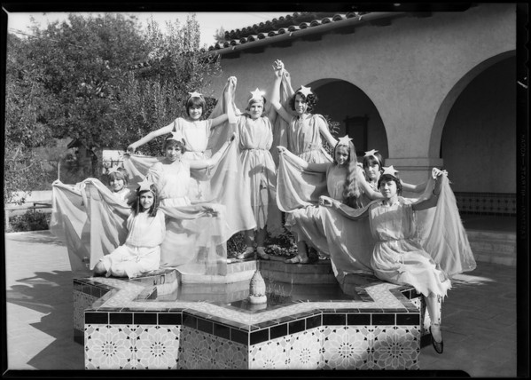 """Stars"" at Exposition Park playground for Christmas festival, Los Angeles, CA, 1930"