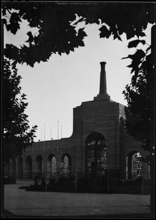 Coliseum entrance at sunset, Los Angeles, CA, 1932