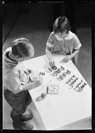 Kiddies modeling in clay, Southern California, 1931