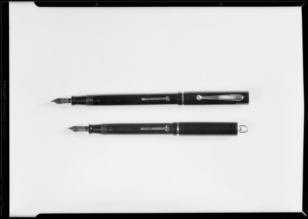 Fountain pens, Security First National bank, Southern California, 1930