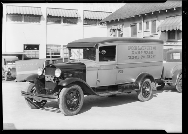 Laundry truck for Mr. Hurd, manager at Riverview Laundry, 451 San Fernando Road, Los Angeles, CA, 1930