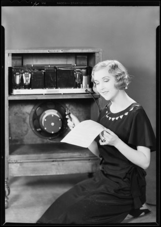 Mary McCallister and back of radio, Southern California, 1930