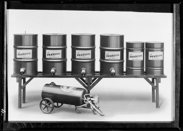 Retouched grease tanks, Southern California, 1930