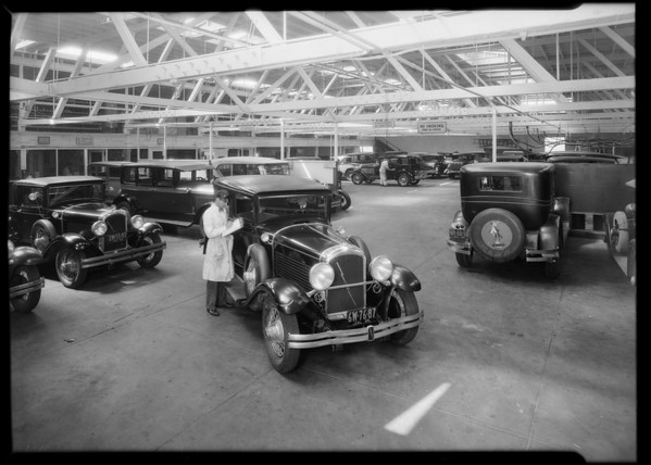 Interior of service department, Pelton Motor Car Co., Southern California, 1929