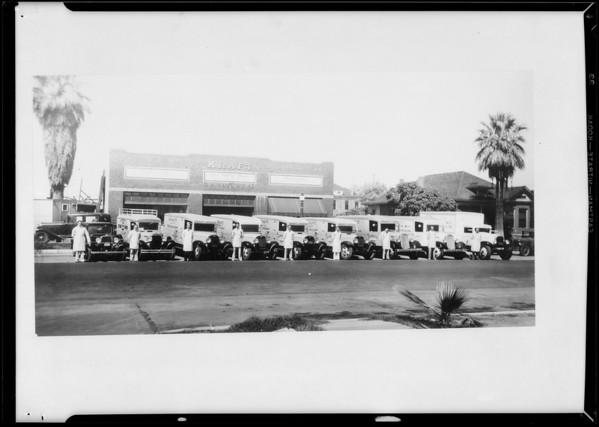Fleet of trucks, Phoenix branch, C.R. Cheney Co., Southern California, 1935