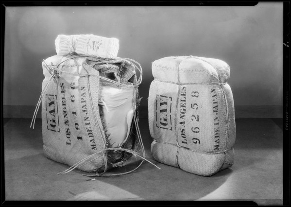 Bales of silk from Orient, Southern California, 1931