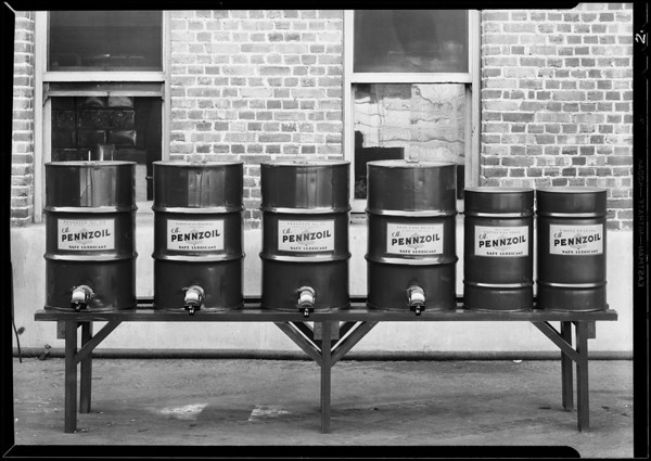 Group of Pennzoil tanks, Southern California, 1930