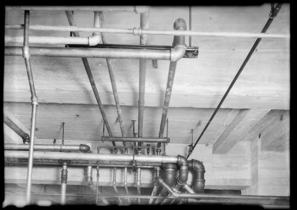 Plumbing installation, County Hospital, Los Angeles, CA, 1931