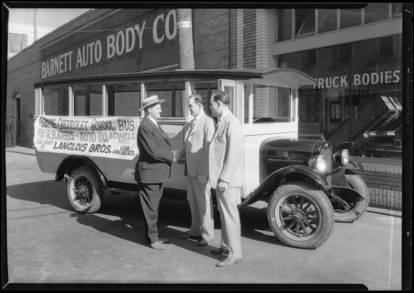 School bus at 800 Santa Fe Avenue, Southern California, 1927