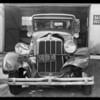 Chandler sedan, Universal Auto Insurance, garage at Olive Street and East Broadway, Glendale, CA, 1931