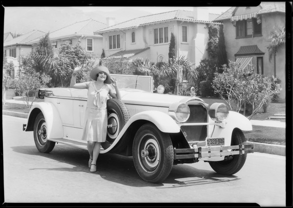 Lina Basquette & her Packard for India Tires, Southern California, 1928