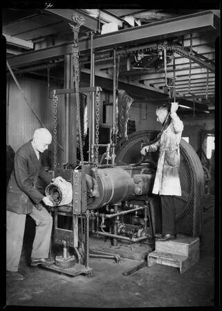 New equipment at factory, Bettis Rubber, Southern California, 1930