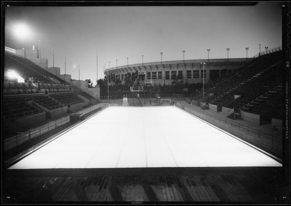Olympic pool illuminated, Los Angeles, CA, 1932