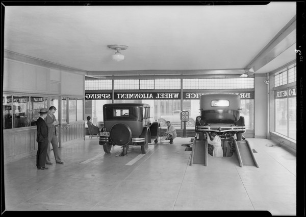Brake testing room & exterior of building, 1058 South Flower Street, Los Angeles, CA, 1930