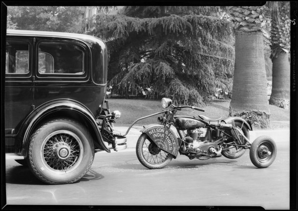 Motorcycle at Packard agency, Hollywood, Southern California, 1929
