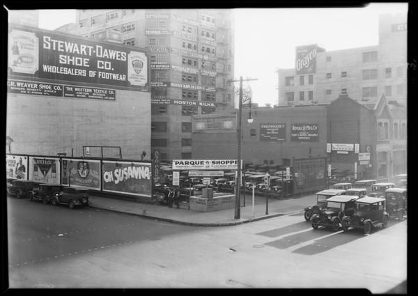 Parque-N-Shoppe auto park, 8th Street and Los Angeles Street, Los Angeles, CA, 1930