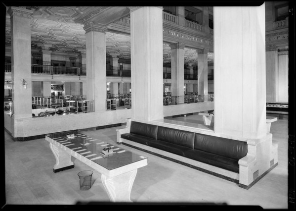 Interiors of main office, Pacific Southwest Bank, Southern California, 1926