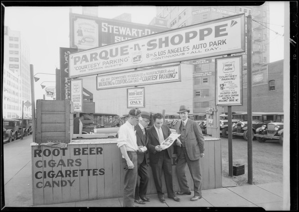 Parque-N-Shoppe auto park, 8th Street and Los Angeles Street, Los Angeles, CA, 1930