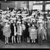 School children opening new accounts, First National Bank, 4647 Whittier Boulevard, East Los Angeles, CA, 1930