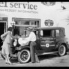 Dayton tires on Texaco information car, Mr. Van Tuyle, Southern California, 1929