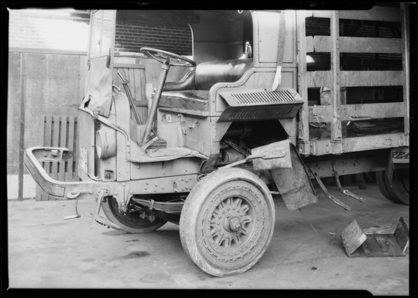Wrecked truck at Los Angeles Creamery, Southern California, 1926