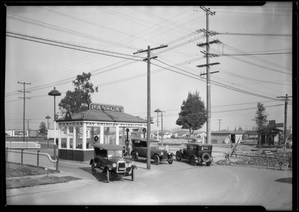 Chevy in Pan-Gas station, Southern California, 1925