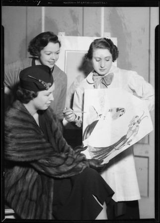 Society girls costume sketching, Los Angeles, CA, 1936