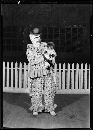 Clown & toys, Southern California, 1930