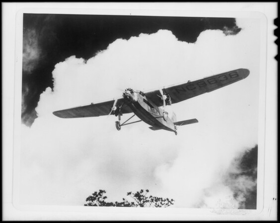 Composite plane and clouds, Southern California, 1929