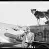 Mail plane pilot and dog, Southern California, 1931