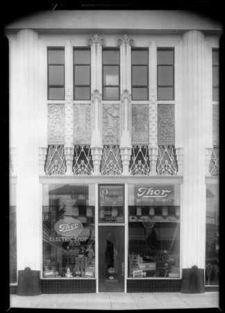 Exterior of store & Mr. Ryan, Southern California, 1931