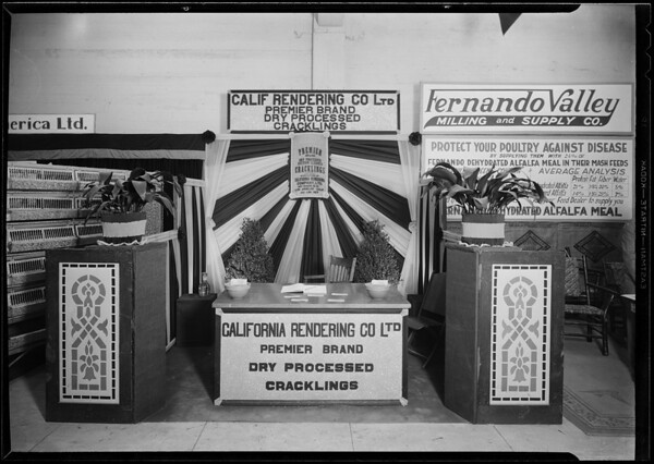 California Rendering Co. booth, poultry show, Southern California, 1930