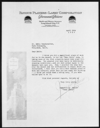 Letter to Eddie Brandstatter, Southern California, 1926