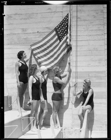 Dedication of Olympic pool, Los Angeles, CA, 1932