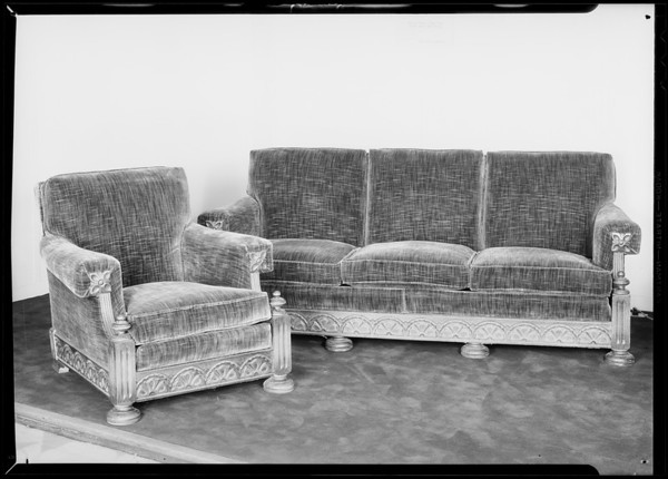 Sofa & chair, The May Company, Southern California, 1931