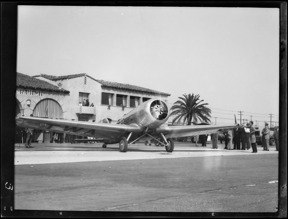 Mail plane christening, Grand Central Airport, Pennzoil, Glendale, CA, 1931