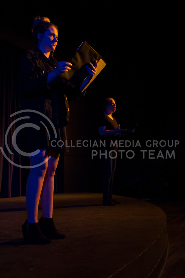 """Addressing the audience, Emma Price and Kaitlyn Burns perform in """"Who Will Talk to the Boys?"""". The show was held in The Purple Mask Theatre on March 1, 2018. (Andrea Klepper 