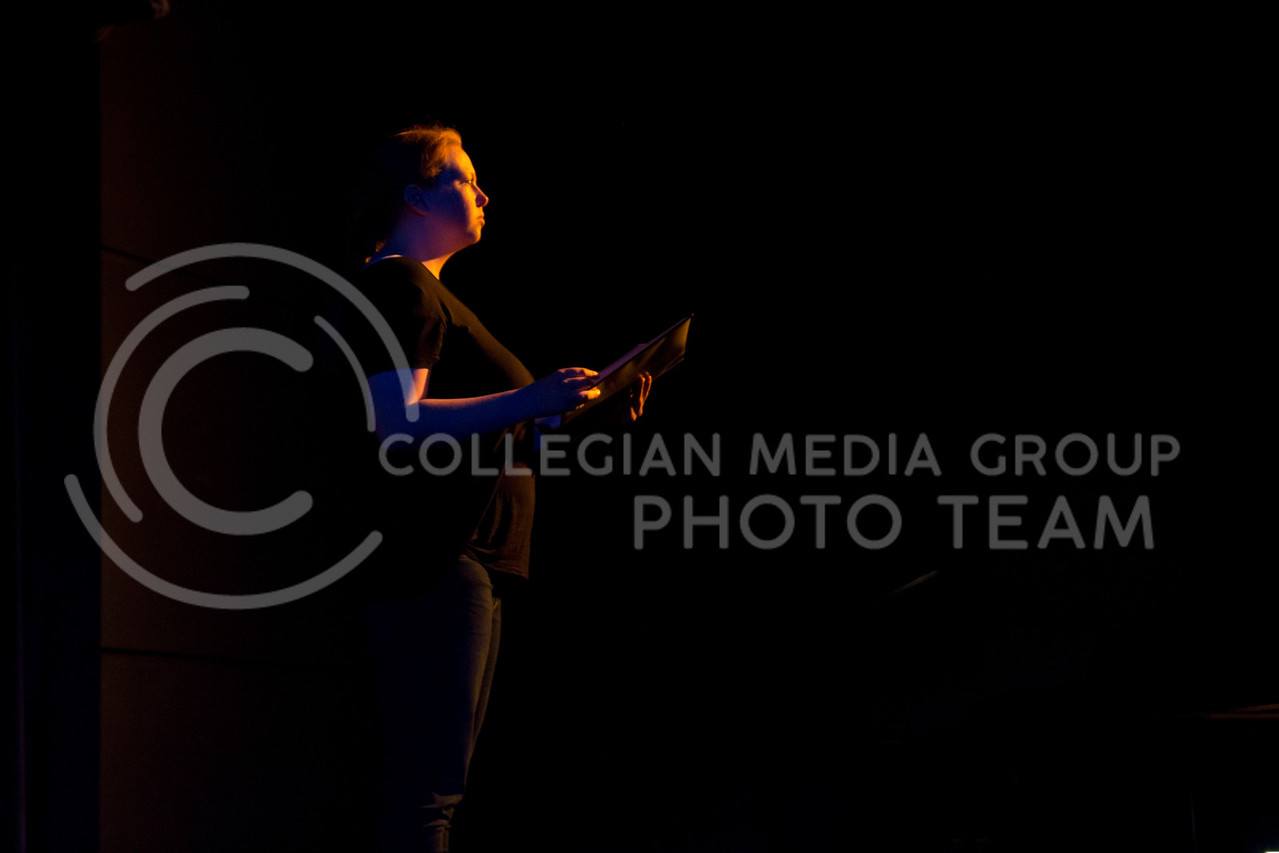 """Addressing the audience, Kaitlyn Burns performs in """"Who Will Talk to the Boys?"""". The show was held in The Purple Mask Theatre on March 1, 2018. (Andrea Klepper 