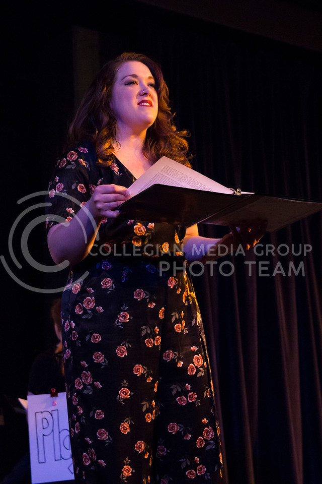 """Delivering her line, Lynsey Becher performs in """"Who Will Talk to the Boys?"""". The show was held in The Purple Mask Theatre on March 1, 2018. (Andrea Klepper 