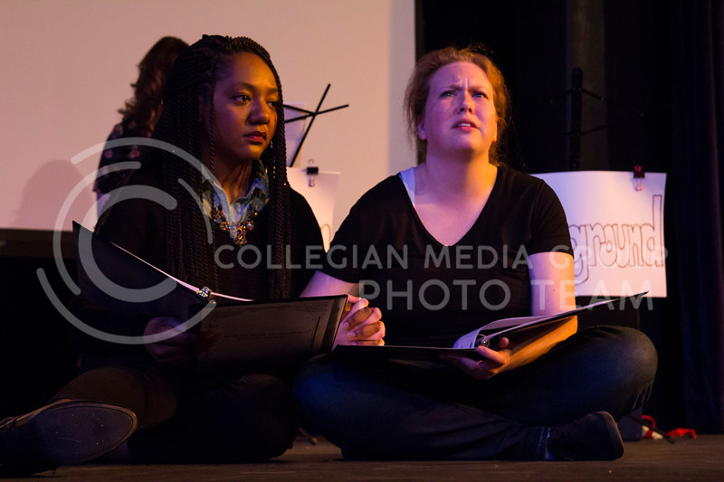"Showing support for each other, Chelsea Turner and Kaitlyn Burns perform in ""Who Will Talk to the Boys?"". The show was held in The Purple Mask Theatre on March 1, 2018. (Andrea Klepper 