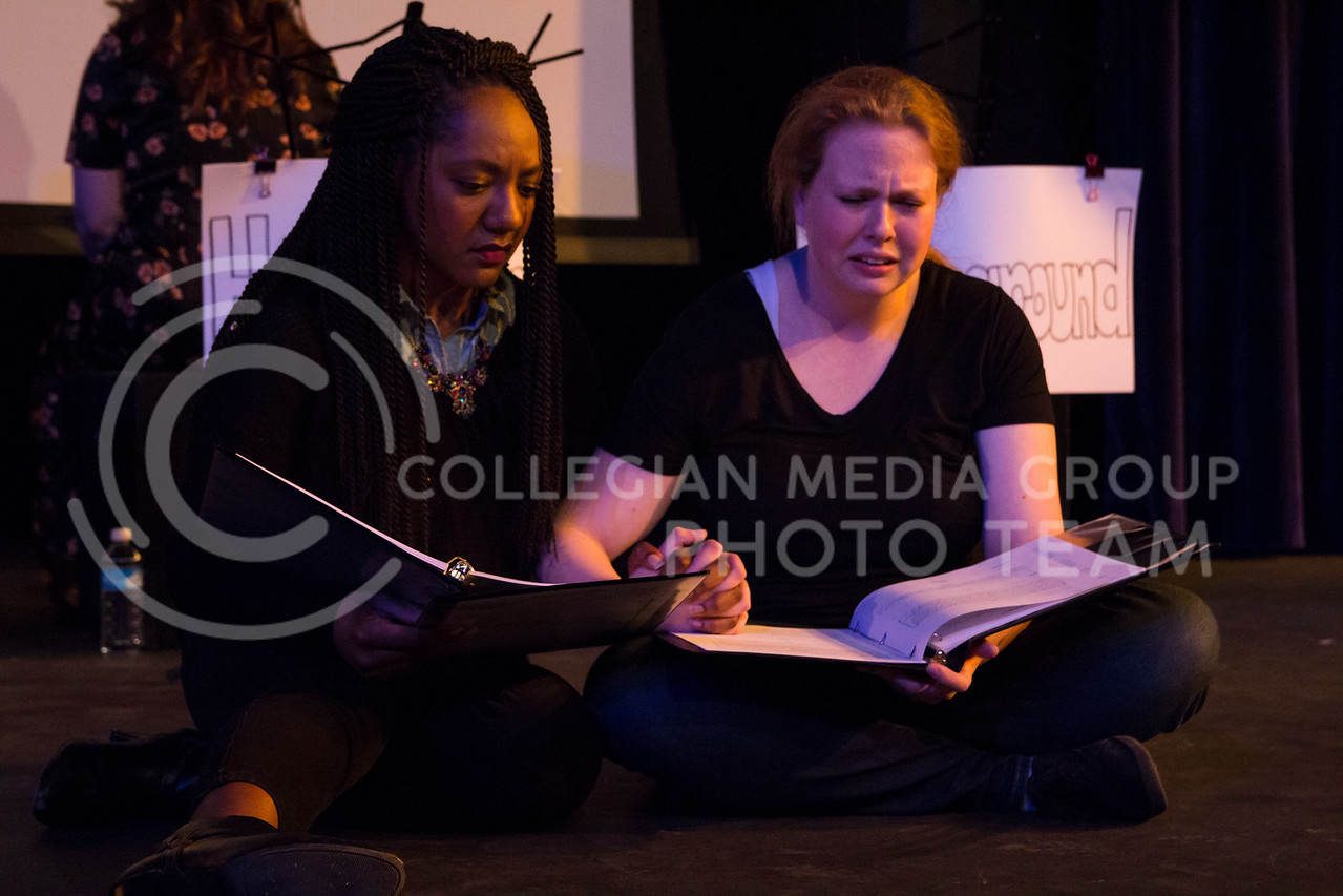 """Showing support for each other, Chelsea Turner and Kaitlyn Burns perform in """"Who Will Talk to the Boys?"""". The show was held in The Purple Mask Theatre on March 1, 2018. (Andrea Klepper 