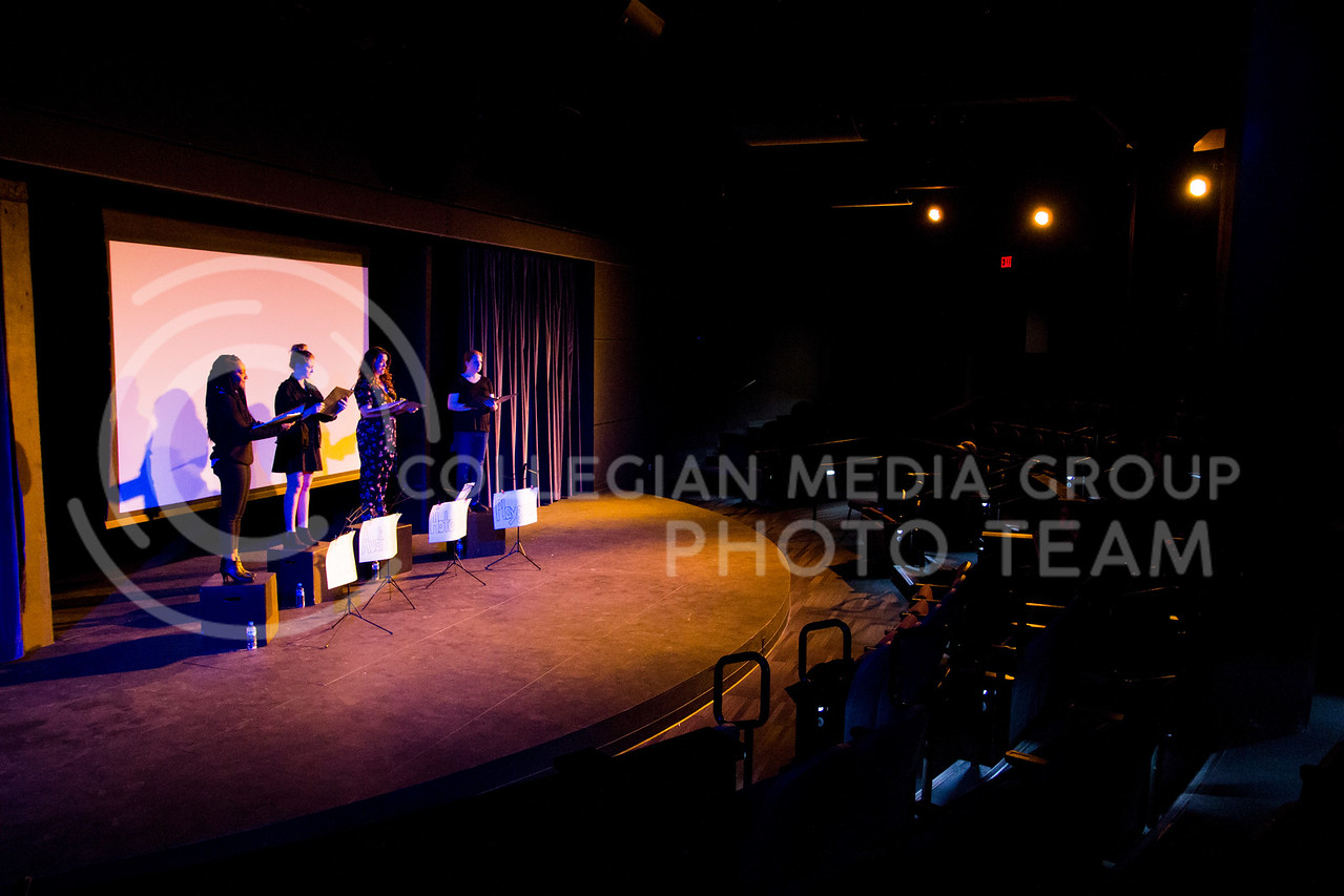 """The cast stands on top of their seats to begin the performance. """"Who Will Talk to the Boys?"""" was held in The Purple Mask Theatre on March 1, 2018. (Andrea Klepper 