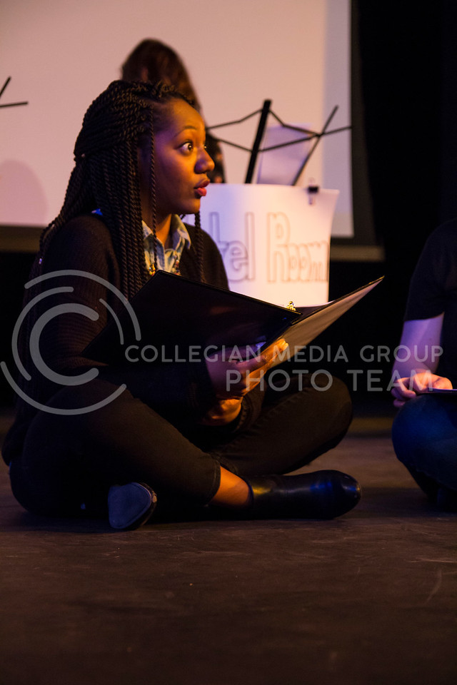 """Delivering her line, Chelsea Turner performs in """"Who Will Talk to the Boys?"""". The show was held in The Purple Mask Theatre on March 1, 2018. (Andrea Klepper 