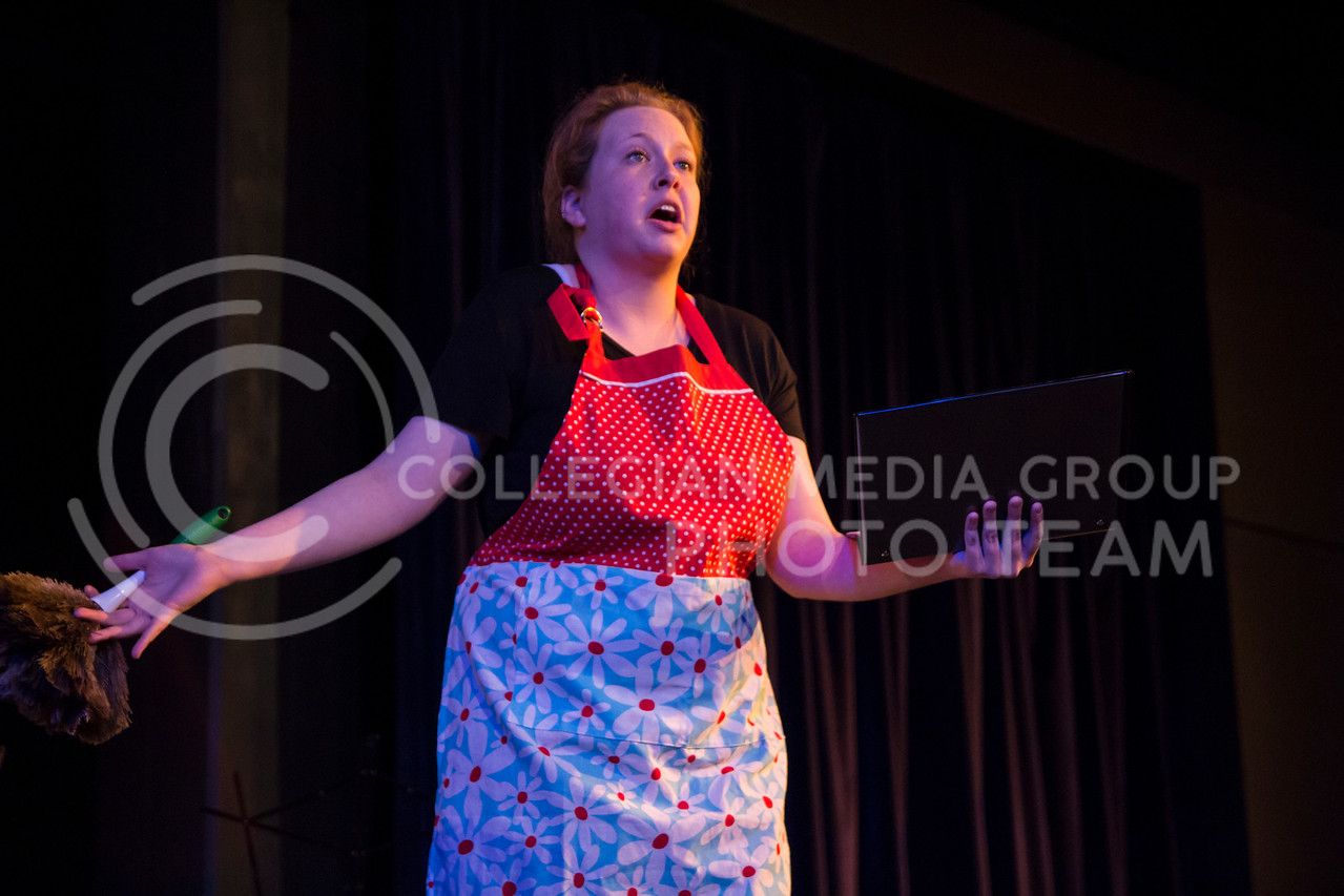 """Acting as another character, Kaitlyn Burns performs in """"Who Will Talk to the Boys?"""". The show was held in The Purple Mask Theatre on March 1, 2018. (Andrea Klepper 